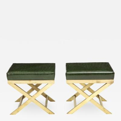 Pair of Italian Brass X Benches