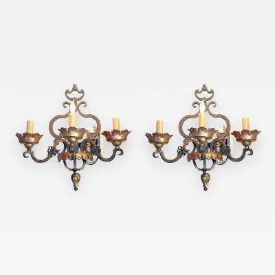 Pair of Italian Bronze Sconces