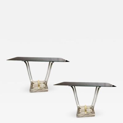 Pair of Italian Bronze and Glass Console Tables