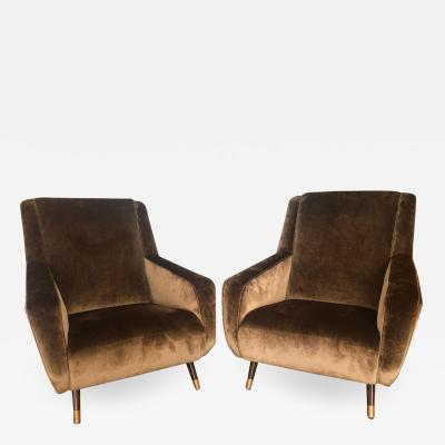 Pair of Italian Brown Taupe Velvet Arm Chairs