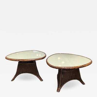 Pair of Italian Coffee Tables in Rattan and Glass 1960s