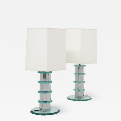 Pair of Italian Contemporary Table Lamps in hammered glass and steel 2010s