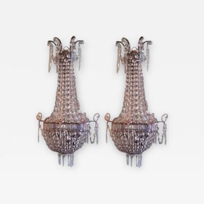 Pair of Italian Crystal Louis XVI Style Appliques