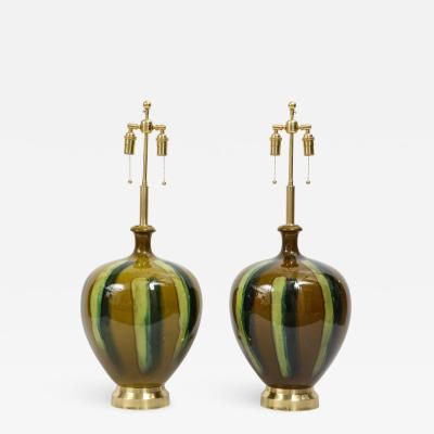 Pair of Italian Drip Glaze ceramic Lamps