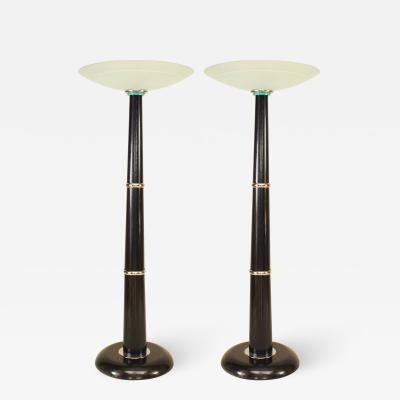 Pair of Italian Ebonized Wood and Chrome Floor Lamps