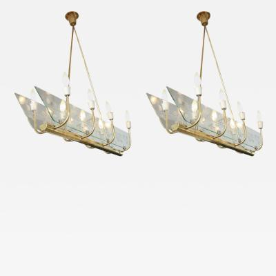 Pair of Italian Eight Light Floral Chandeliers