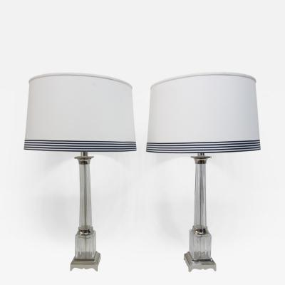 Pair of Italian Fluted Column Glass Lamps
