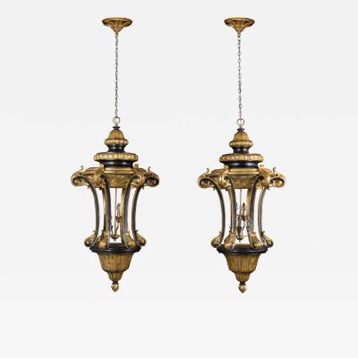 Pair of Italian Gilt Ebonized Carved Lanterns