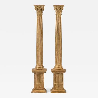 Pair of Italian Giltwood Classical Columns