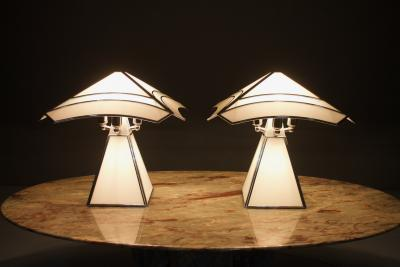Pair of Italian Glass Table Lamps 1980s