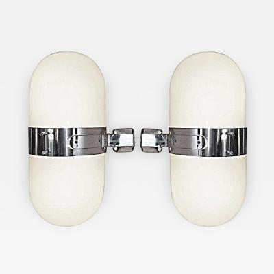 Pair of Italian Glass and Chrome Sconces