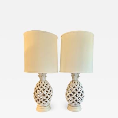 Pair of Italian Glazed Terra Cotta Lattice Lamps