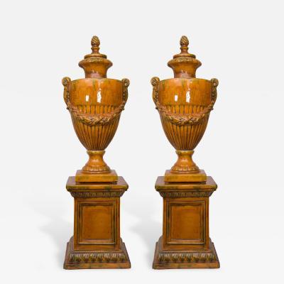 Pair of Italian Glazed Terra Cotta Lidded Urns Late 20th Century