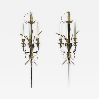 Pair of Italian Gold and Black Sword Wall Sconces