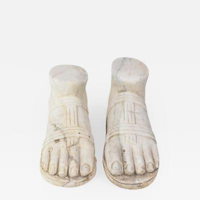 Pair of Italian Grand Tour Marble Reductions of a Model of a Foot