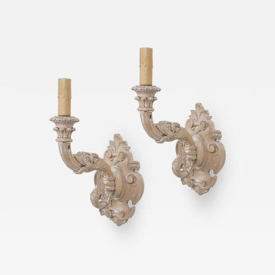Pair of Italian Hand Carved Beechwood Electrified Sconces
