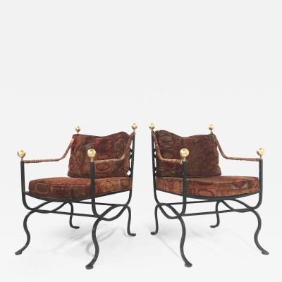 Pair of Italian Hollywood Regency Savonarola Chairs