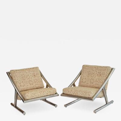 Pair of Italian Lounge Chairs in Chrome 1970s