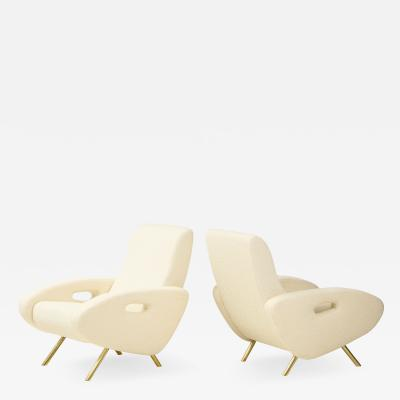 Pair of Italian Lounge Chairs in Ivory Boucle and Brass Legs 2021