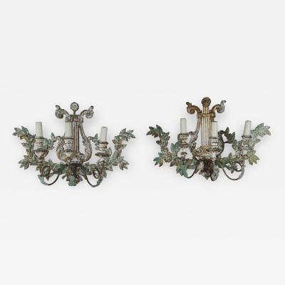 Pair of Italian Lyre Shaped Wood Painted Sconces