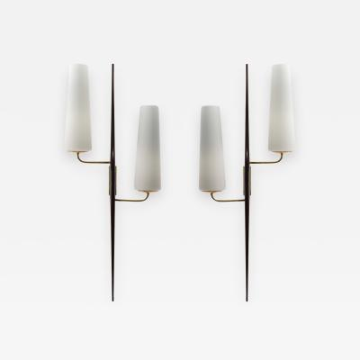 Pair of Italian Macassar and Brass Double Arm Sconces
