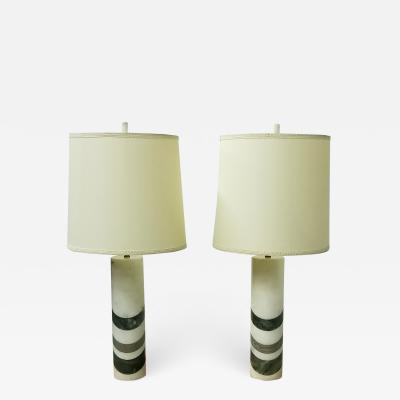 Pair of Italian Marble Cylinder Table Lamps