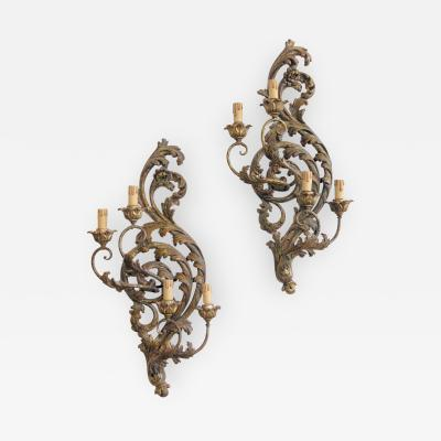 Pair of Italian Mecca Giltwood and T le Sconces