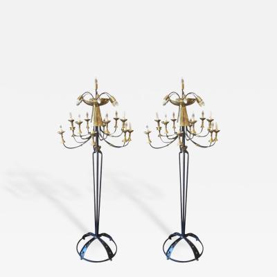 Pair of Italian Mid Century Candelabra Style Wrought Iron and Brass Floor Lamps