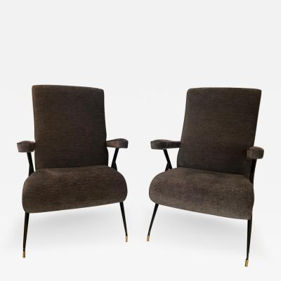 Pair of Italian Mid Century Charcoal Gray Arm Chairs