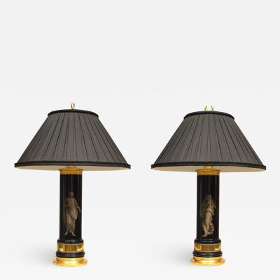 Pair of Italian Mid Century Eglomise Glass Table lamps