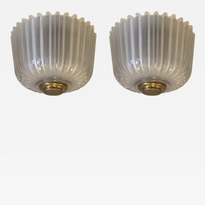 Pair of Italian Mid Century Modern Blown Glass Flush Mount Fixtures by Seguso
