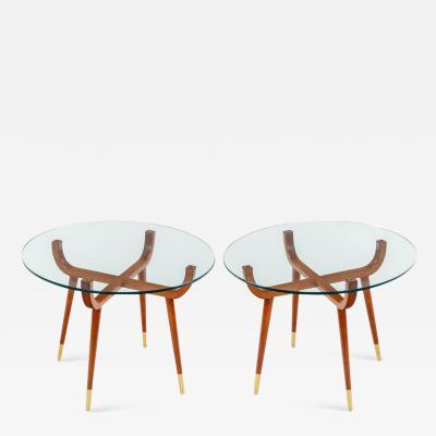Pair of Italian Mid Century Style Glass Top Mahogany Side Tables