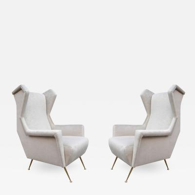Pair of Italian Mid Century Wing Chairs