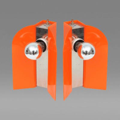 Pair of Italian Mod Acrylic and Chrome Lamps
