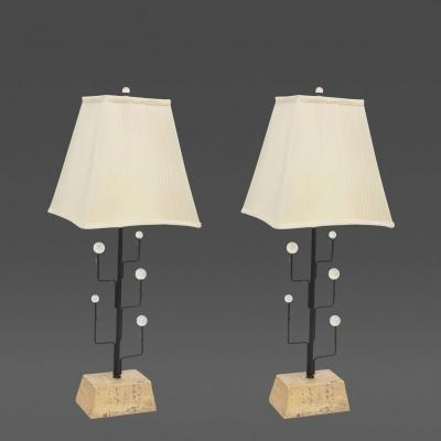 Pair of Italian Modern Iron Crystal and Travertine Marble Lamps