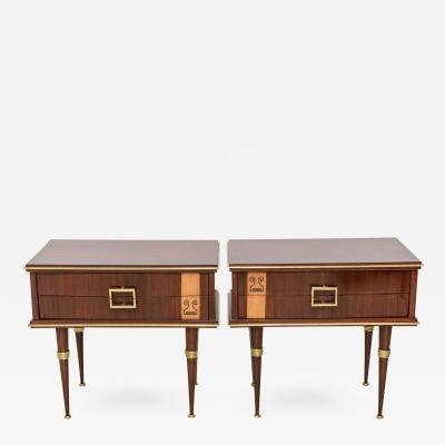 Pair of Italian Modern Walnut Sycamore and Bronze Mounted Bedside Tables