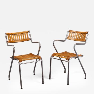 Pair of Italian Modernist Armchairs 1950s