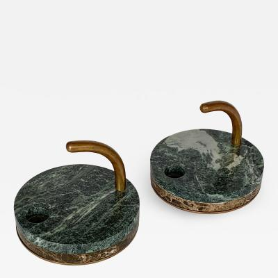 Pair of Italian Modernist Marble and Bronze Candleholders