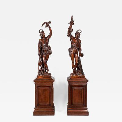 Pair of Italian Monumental Carved Figures on Plinths 19th Century