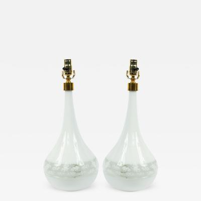 Pair of Italian Murano White Glass Table Lamps