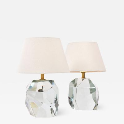 Pair of Italian Murano clear rock table lamps