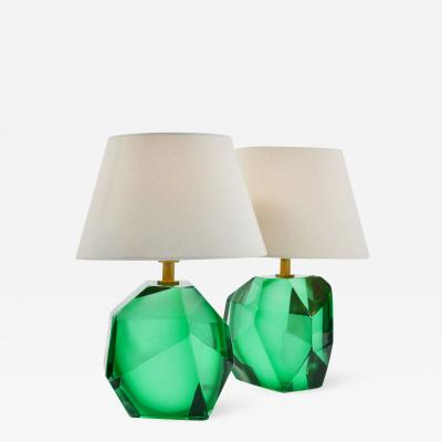 Pair of Italian Murano emerald rock table lamps