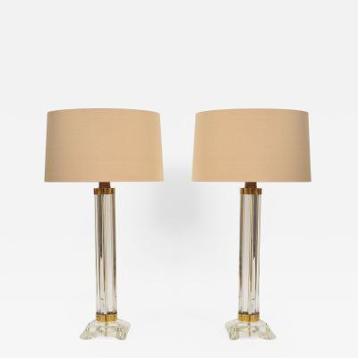 Pair of Italian Murano glass column lamps