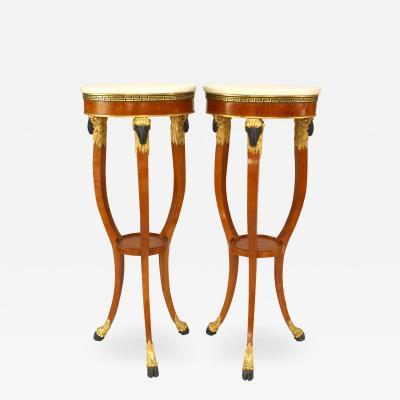 Pair of Italian Neo Classic Fruitwood Pedestals