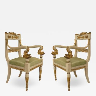 Pair of Italian Neo Classic Painted Arm Chairs