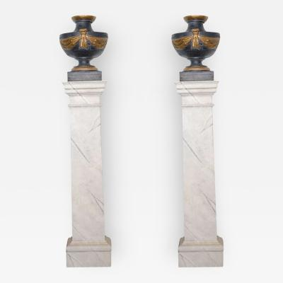 Pair of Italian Neoclassic Painted and Parcel Gilt Urns on Pedestals