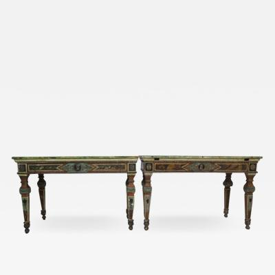 Pair of Italian Neoclassic Style Polychrome Painted Console Tables