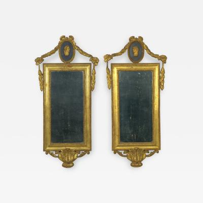 Pair of Italian Neoclassical Antique Giltwood Mirrors Looking Glasses 19th C
