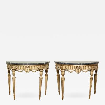 Pair of Italian Neoclassical Console Tables
