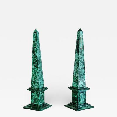 Pair of Italian Neoclassical Style Malachite Veneered Obelisks